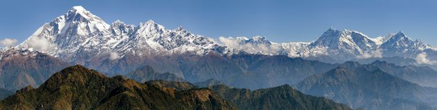 Dhaulagiri and Annapurna Himal. Panoramatic view from Jaljala pass of Dhaulagiri and Annapurna Himal - Guerrilla trek in Western Nepal stock photos