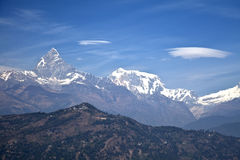 Dhaulagiri-Annapurna-Manaslu Himalayan Mountains. Image of the Dhaulagiri-Annapurna-Manaslu Himalayan Mountain Range, Nepal royalty free stock photo