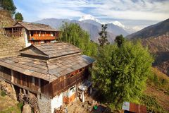 Dhaulagiri, Gorepani-dorp, de bergen van Nepal Himalayagebergte stock foto's