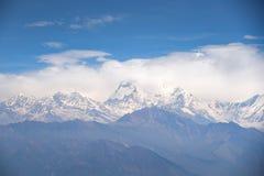 Dhaulagiri mountain landscape in Nepal. Dhaulagiri mountain view with blue sky, beautiful Himalaya range landscape in Nepal stock photography