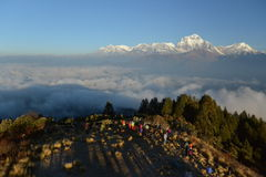 Dhaulagiri mountain on sunrise, Poon Hill, Himalaya Nepal stock photo