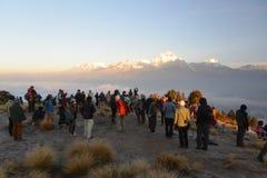 Dhaulagiri mountain on sunrise, Poon Hill, Himalaya Nepal. royalty free stock image