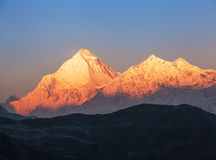 Dhaulagiri Peak Sunrise. Majestic view of Dhaulagiri peak 8167 m at sunrise. Nepal, Himalayas royalty free stock photography