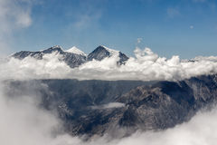 Dhaulagiri range from Mesokanto pass in. stock images