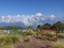 Dhaulagiri range from Poon Hill, Nepal. Dhaulagiri range from Poon Hill - one of the most visited Himalayan view points in Nepal, view to snow capped Himalaya royalty free stock photos