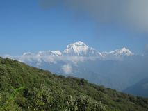 Dhaulagiri range from Poon Hill, Nepal. Dhaulagiri range from Poon Hill - one of the most visited Himalayan view points in Nepal, view to snow capped Himalaya stock photos