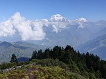 Dhaulagiri range from Poon Hill, Nepal. Dhaulagiri range from Poon Hill - one of the most visited Himalayan view points in Nepal, view to snow capped Himalaya stock photography