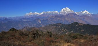 Dhaulagiri range seen from a place near Poon Hill stock image
