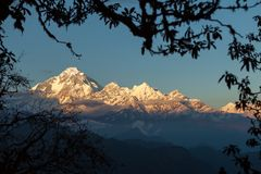 Dhaulagiri at the Sunset. South ridge of Dhaulagiri at sunset from Jaljala La, Dhaulagiri Himal, Nepal Stock Photo
