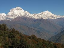 Dhaulagiri Twin Peaks Stock Photo