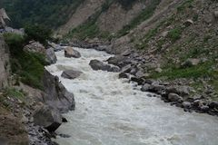 Dhauliganga is one of the six source streams of the Ganges river, Uttarakhand, India stock photos