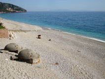 Dhermi村庄, Drymades海滩,南阿尔巴尼亚 库存照片
