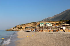 Dhermi,阿尔巴尼亚惊人的海滩  库存图片