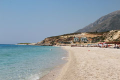 Dhermi,阿尔巴尼亚惊人的海滩  免版税库存图片