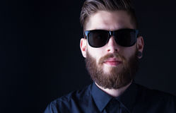 Dhipster portrait with black backround Royalty Free Stock Photo