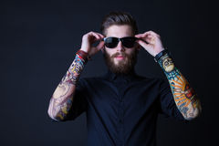 Dhipster portrait with black backround Stock Image