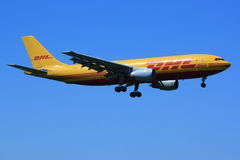 DHL aircraft landing Stock Photos