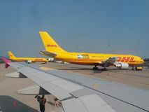 DHL aircrafts parked at the airport Stock Photography