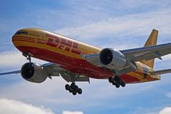 Free DHL Boeing 777F Operated By AeroLogic Close Up View Stock Photos - 160554773