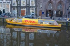DHL Canal barge Stock Image