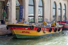 DHL Cargo boat Venice Royalty Free Stock Photography