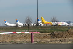 DHL Cargoair and Go Air aircrafts Royalty Free Stock Photos