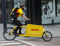 DHL delivery bike Royalty Free Stock Photo