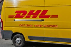 DHL delivery car closeup in Banska Bystrica, Slovakia. Stock Photography