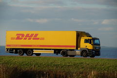 DHL delivery truck Royalty Free Stock Image