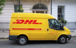 DHL Delivery Van Royalty Free Stock Images