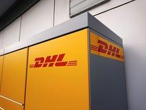 DHL embleem op pakstation Royalty-vrije Stock Foto