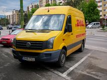DHL express delivery car close up shot. stock photography