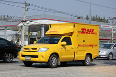DHL Express and Logistics Container Pickup truck Royalty Free Stock Images