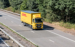DHL lorry on the road Royalty Free Stock Photography