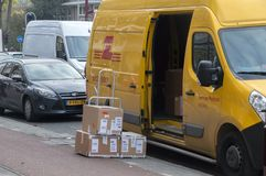 DHL Package Company Van At Amsterdam The Netherlands 2018 immagine stock
