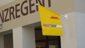 DHL Paketshop stock video footage