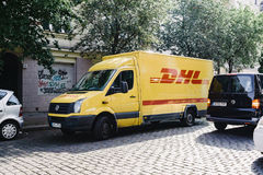 DHL parcel delivery truck Stock Photo