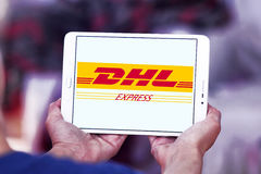 DHL-Postversandlogo Stockfotografie
