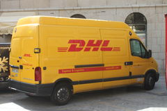 DHL truck. A DHL truck in Salamanca, Spain. DHL is a brand of the german Deutsche Post AG Royalty Free Stock Photo