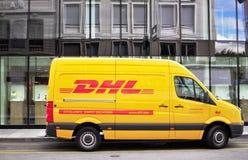 DHL van in the street Royalty Free Stock Photo