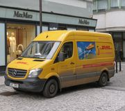 DHL van on the street in Prague Stock Photos
