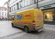 DHL van on the street in Prague Stock Photography