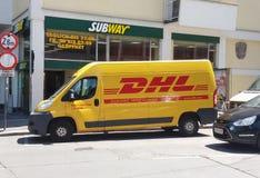 DHL van on the street Stock Image