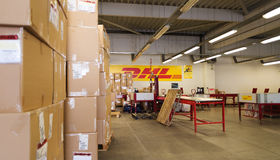 DHL warehouse with package boxes of different size Royalty Free Stock Images