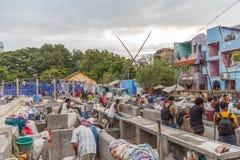 Dhobi Gana is goed - bekende openluchtlaundromat in Chennai India stock afbeelding