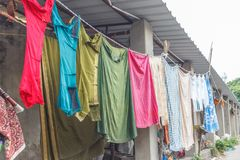 Dhobi Gana is a well known open air laundromat in Chennai India. The washers, locally known as Dhobis, work in the open to wash the clothes from chennai hotels Royalty Free Stock Images