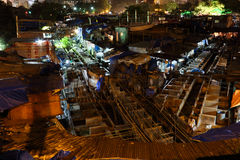 Dhobi Ghat在孟买在晚上 库存图片