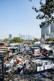 Dhobi ghat, ett ställe för tvätteri för öppen luft i Mumbai, Indien arkivfoton
