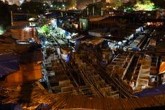 Dhobi Ghat i Bombay på natten Fotografering för Bildbyråer