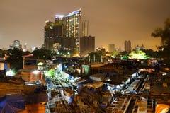 Dhobi Ghat i Bombay på natten royaltyfria bilder